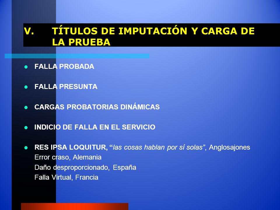V. TÍTULOS DE IMPUTACIÓN Y CARGA DE LA PRUEBA