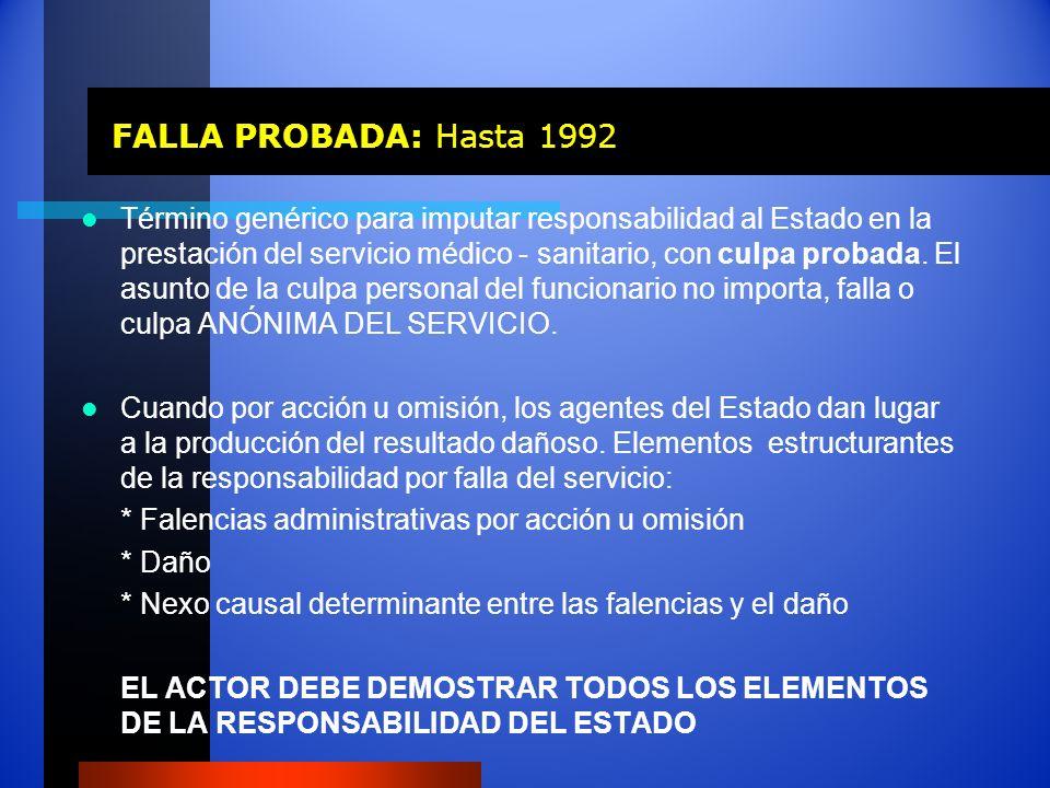 FALLA PROBADA: Hasta 1992