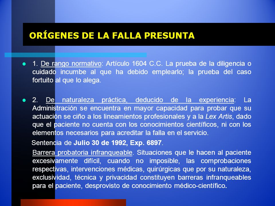 ORÍGENES DE LA FALLA PRESUNTA