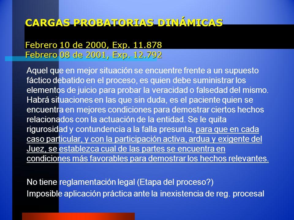 CARGAS PROBATORIAS DINÁMICAS Febrero 10 de 2000, Exp. 11