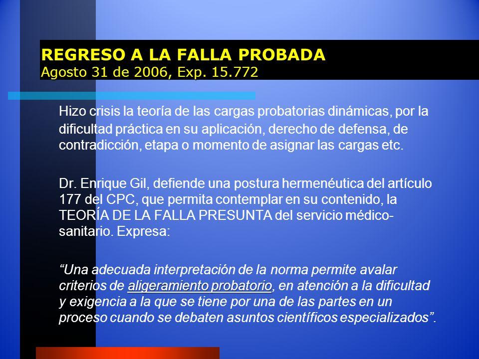 REGRESO A LA FALLA PROBADA Agosto 31 de 2006, Exp. 15.772