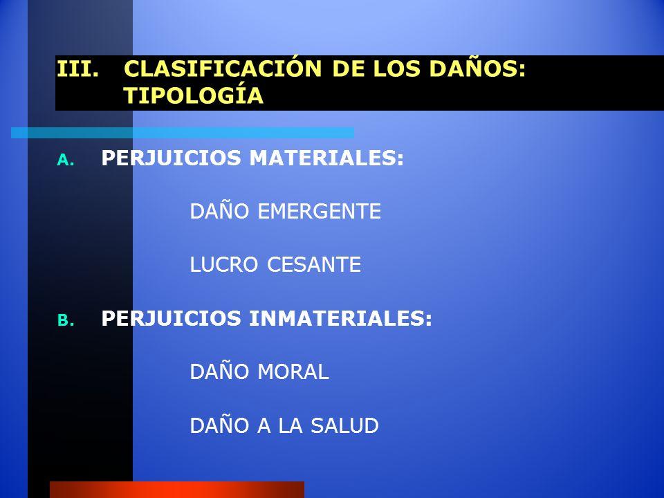 III. CLASIFICACIÓN DE LOS DAÑOS: TIPOLOGÍA