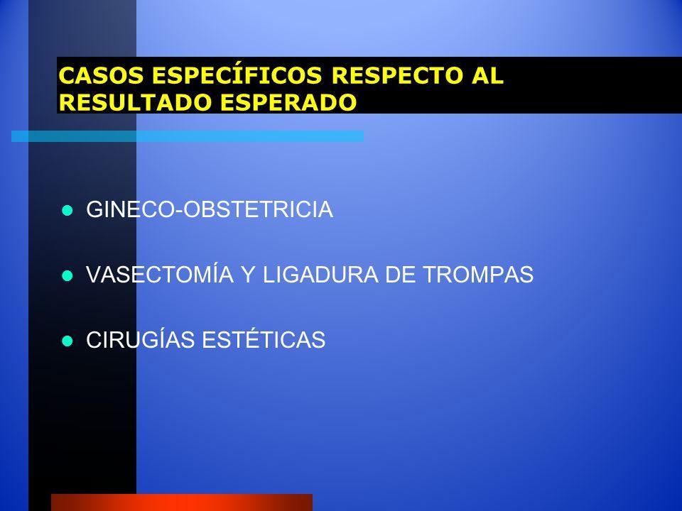 CASOS ESPECÍFICOS RESPECTO AL RESULTADO ESPERADO