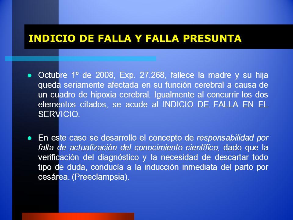 INDICIO DE FALLA Y FALLA PRESUNTA