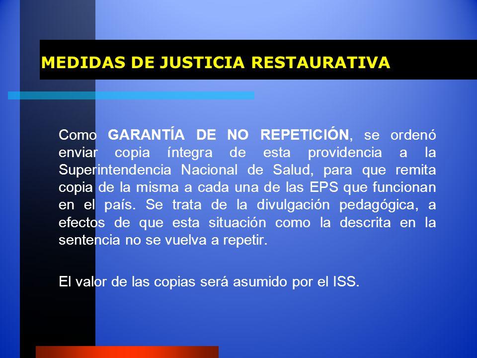 MEDIDAS DE JUSTICIA RESTAURATIVA