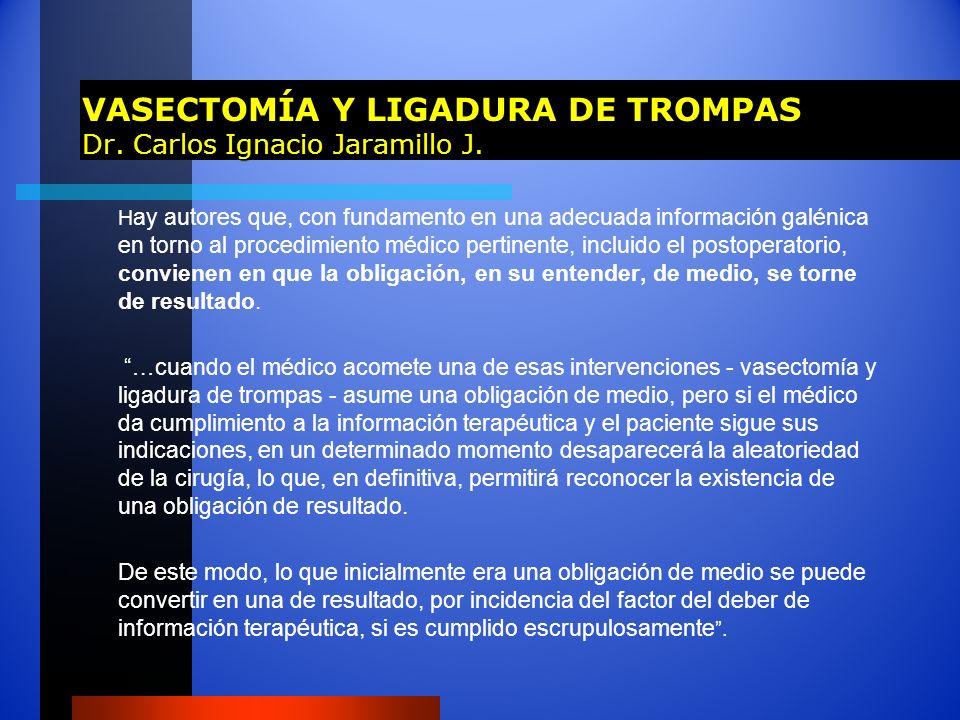 VASECTOMÍA Y LIGADURA DE TROMPAS Dr. Carlos Ignacio Jaramillo J.