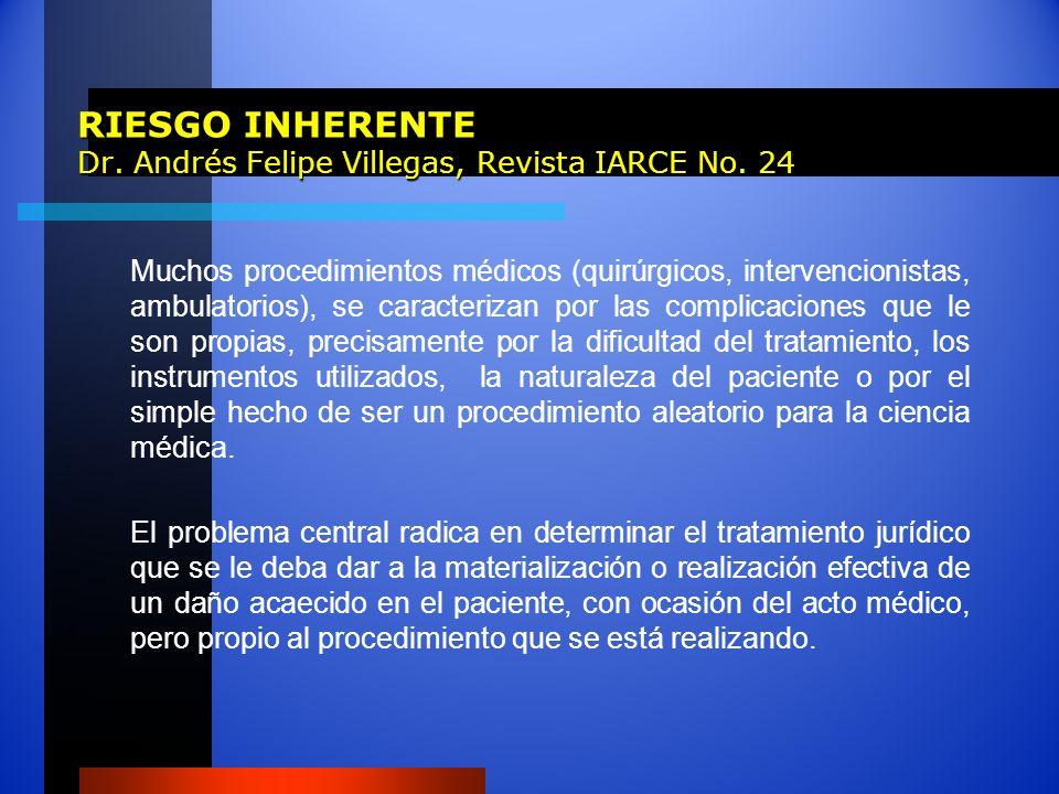 RIESGO INHERENTE Dr. Andrés Felipe Villegas, Revista IARCE No. 24