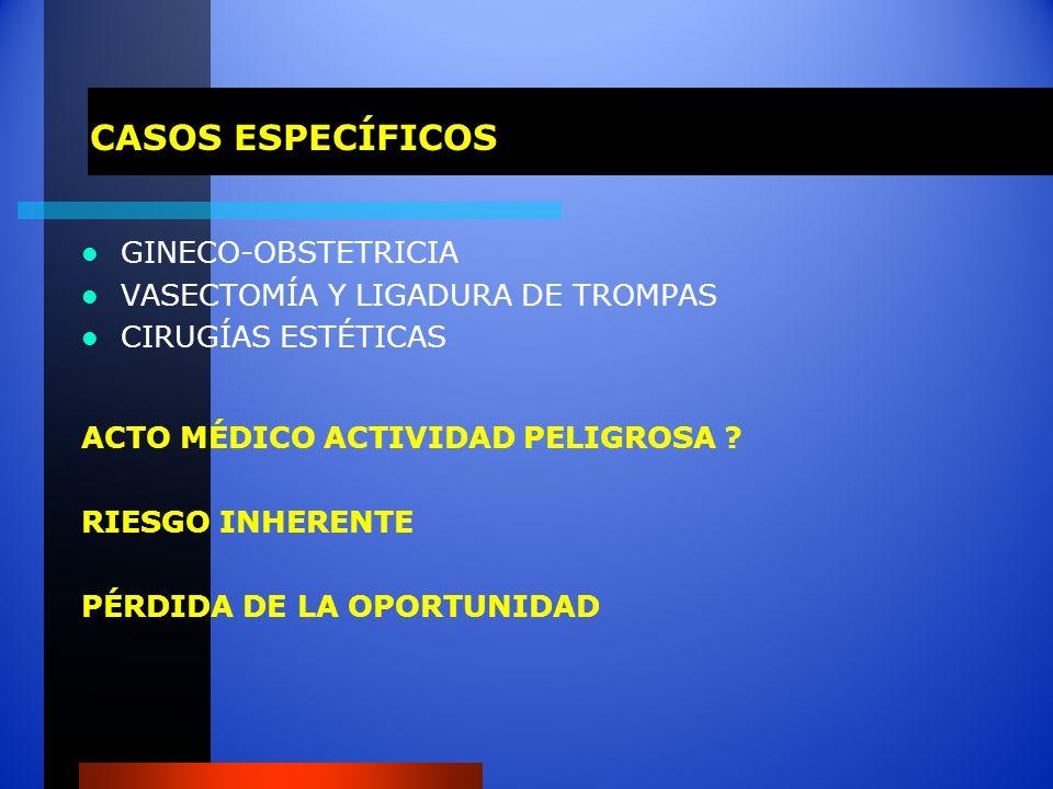 CASOS ESPECÍFICOS GINECO-OBSTETRICIA VASECTOMÍA Y LIGADURA DE TROMPAS