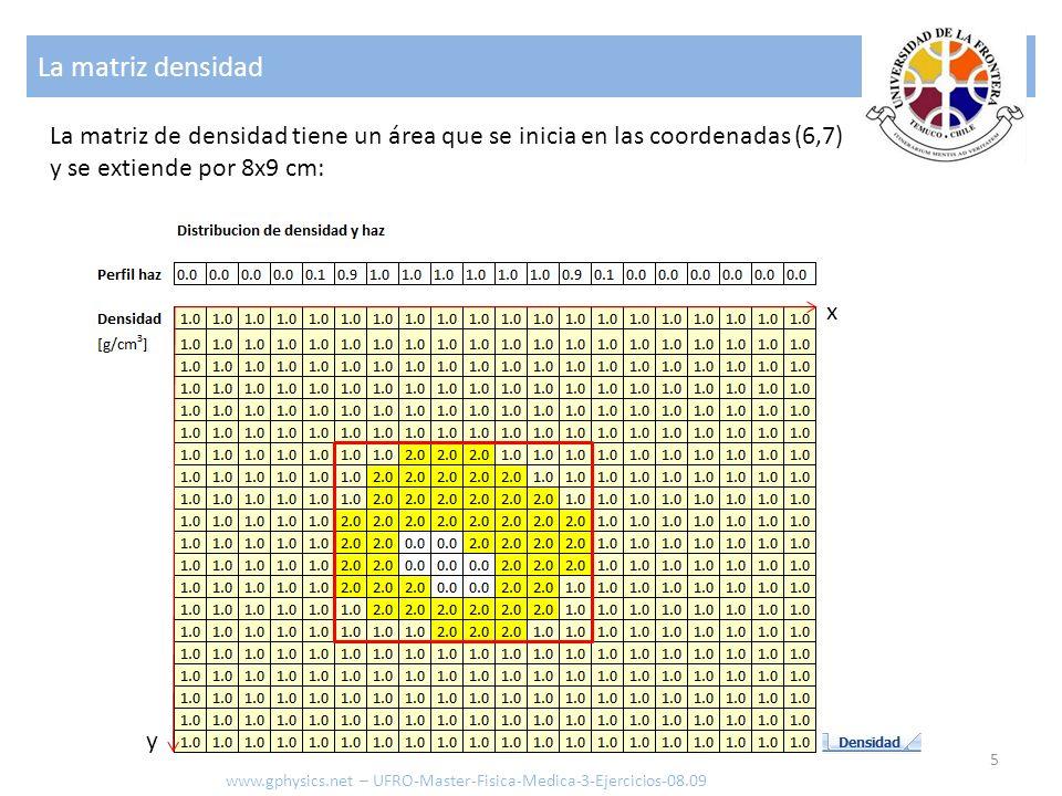 La matriz densidad La matriz de densidad tiene un área que se inicia en las coordenadas (6,7) y se extiende por 8x9 cm: