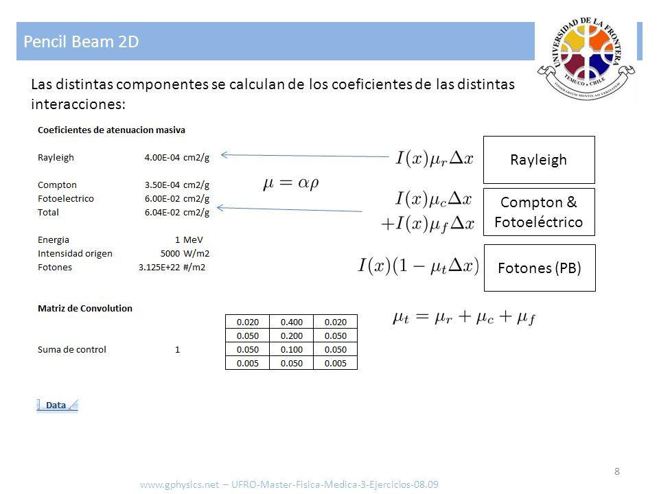 Pencil Beam 2D Las distintas componentes se calculan de los coeficientes de las distintas interacciones: