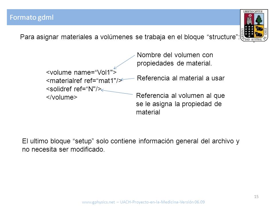 Formato gdml Para asignar materiales a volúmenes se trabaja en el bloque structure : Nombre del volumen con propiedades de material.