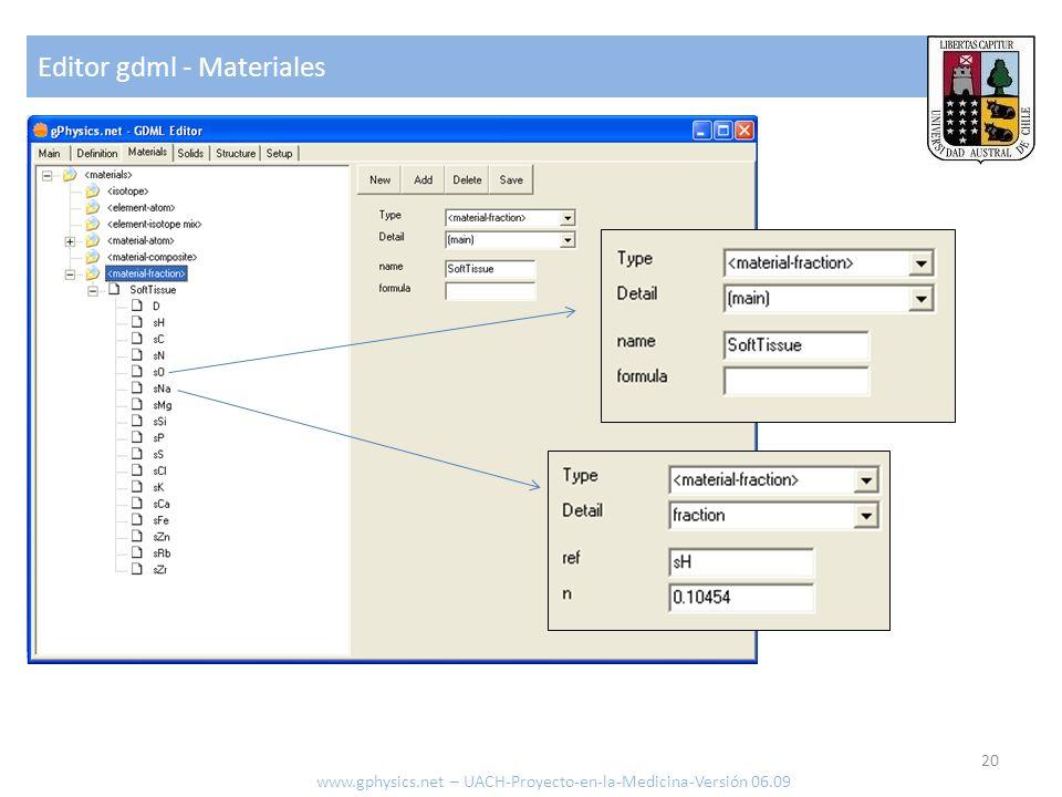Editor gdml - Materiales