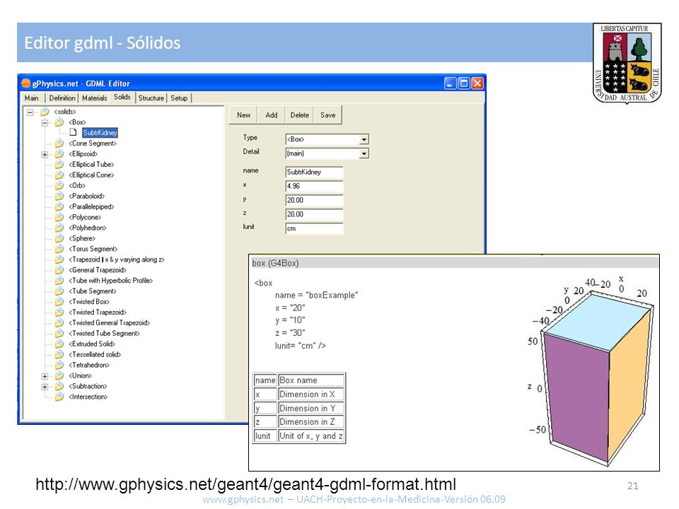 Editor gdml - Sólidos http://www.gphysics.net/geant4/geant4-gdml-format.html.