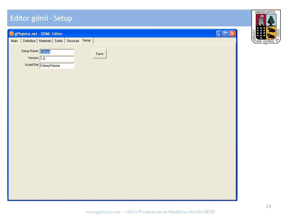 Editor gdml - Setup www.gphysics.net – UACH-Proyecto-en-la-Medicina-Versión 06.09