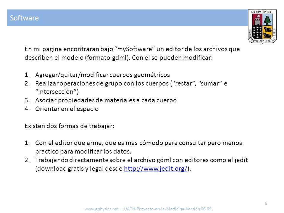 Software En mi pagina encontraran bajo mySoftware un editor de los archivos que describen el modelo (formato gdml). Con el se pueden modificar: