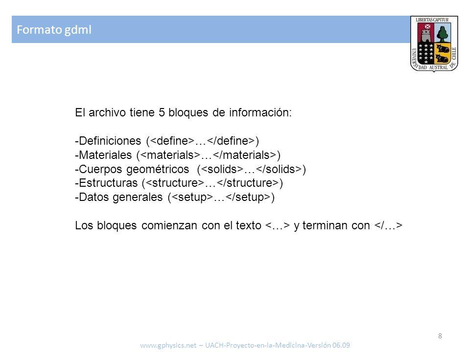 Formato gdml El archivo tiene 5 bloques de información: