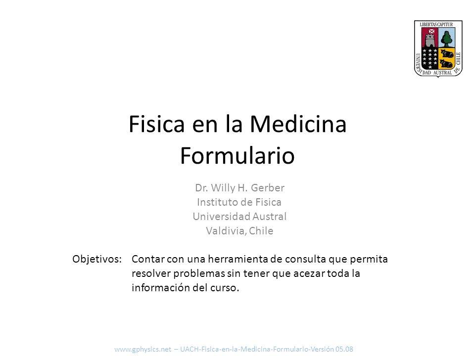Fisica en la Medicina Formulario