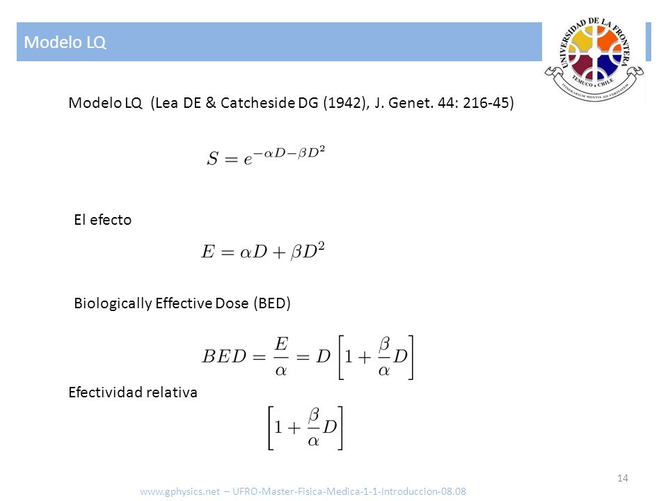 Modelo LQ Modelo LQ (Lea DE & Catcheside DG (1942), J. Genet. 44: 216-45) El efecto. Biologically Effective Dose (BED)