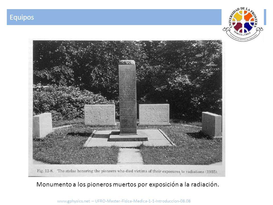 EquiposMonumento a los pioneros muertos por exposición a la radiación.