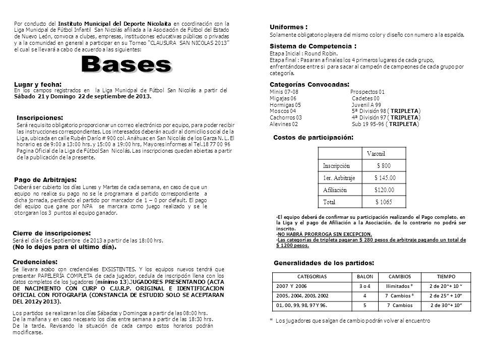 Bases Uniformes : Sistema de Competencia : Lugar y fecha: