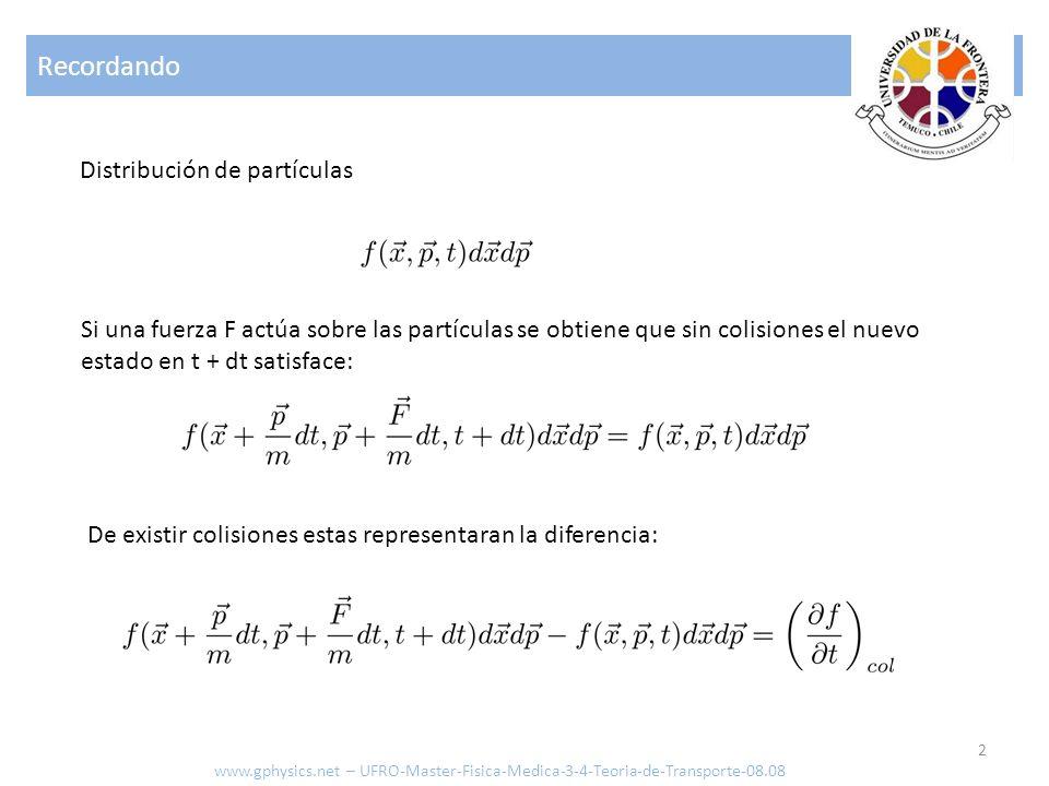 Recordando Distribución de partículas
