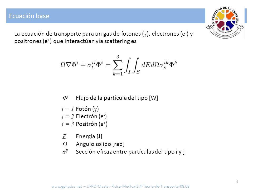 Ecuación base La ecuación de transporte para un gas de fotones (γ), electrones (e-) y positrones (e+) que interactúan vía scattering es.