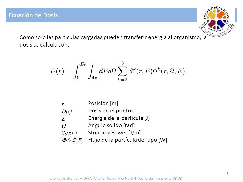 Ecuación de Dosis Como solo las partículas cargadas pueden transferir energía al organismo, la dosis se calcula con: