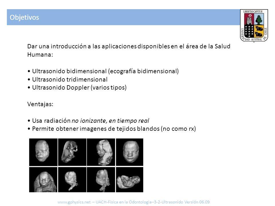 Objetivos Dar una introducción a las aplicaciones disponibles en el área de la Salud Humana: • Ultrasonido bidimensional (ecografía bidimensional)