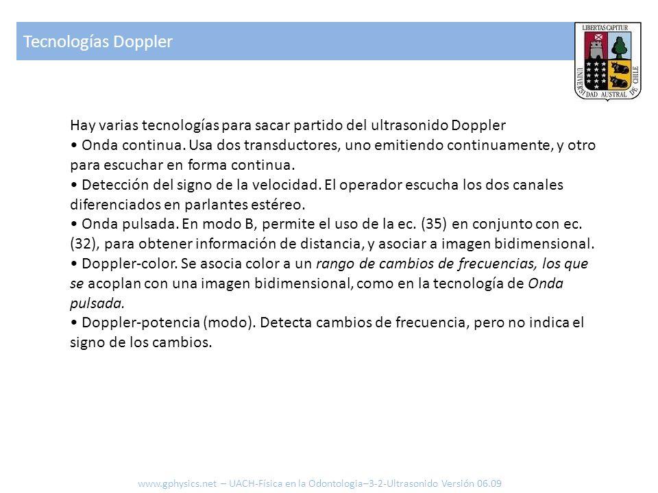 Tecnologías Doppler Hay varias tecnologías para sacar partido del ultrasonido Doppler.