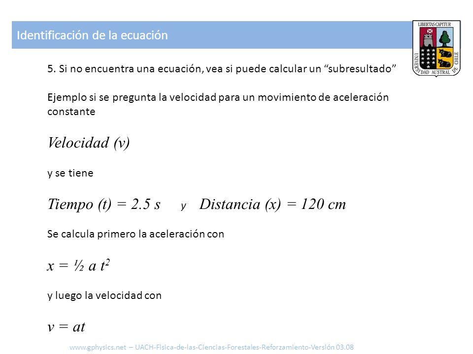 Tiempo (t) = 2.5 s y Distancia (x) = 120 cm
