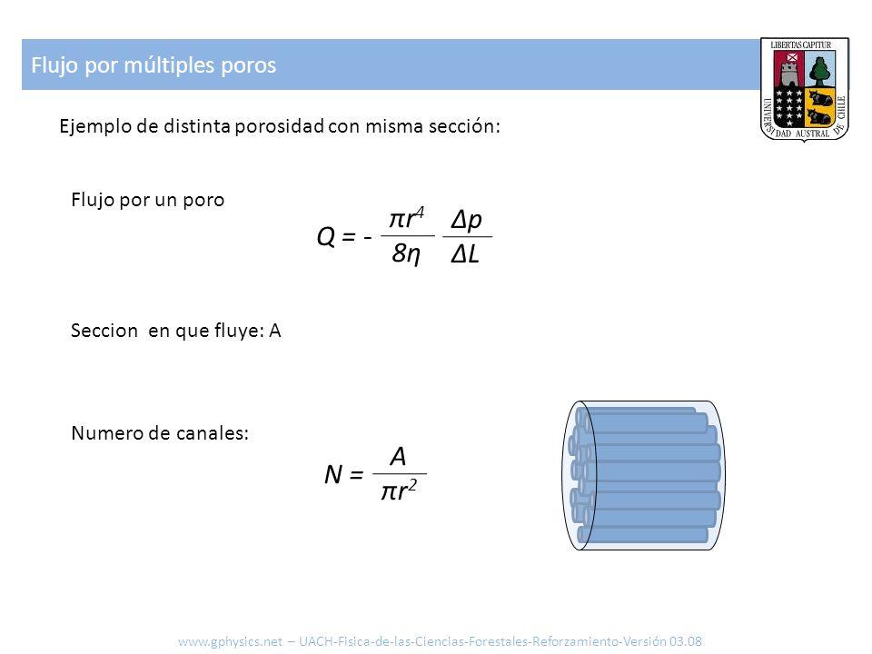 πr4 8η Δp ΔL Q = - A πr2 N = Flujo por múltiples poros