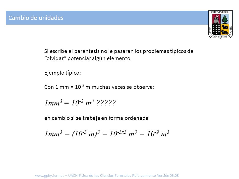 Cambio de unidades Si escribe el paréntesis no le pasaran los problemas típicos de olvidar potenciar algún elemento.