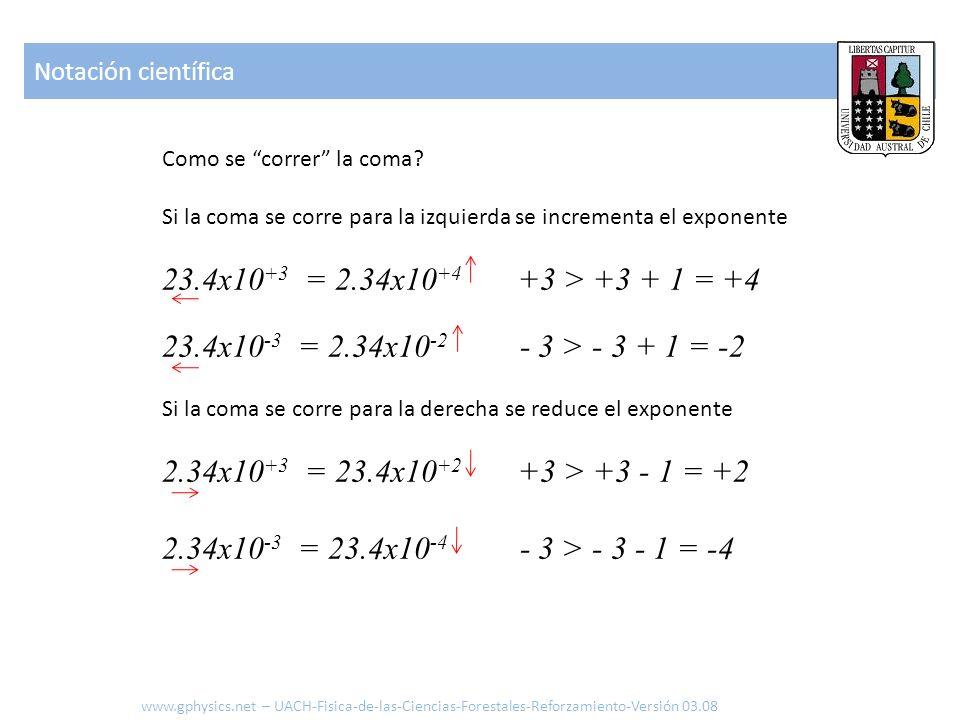 Notación científica Como se correr la coma Si la coma se corre para la izquierda se incrementa el exponente.