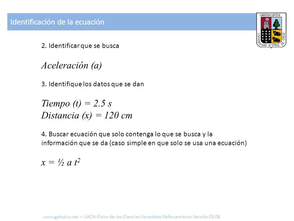 Aceleración (a) Tiempo (t) = 2.5 s Distancia (x) = 120 cm x = ½ a t2