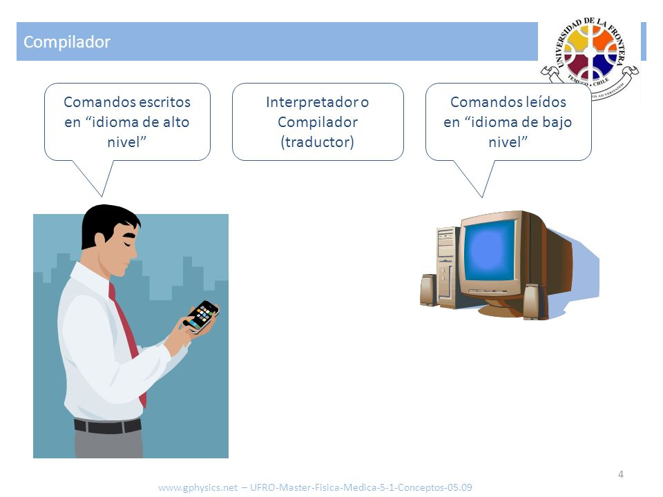 Compilador Comandos escritos en idioma de alto nivel Interpretador o