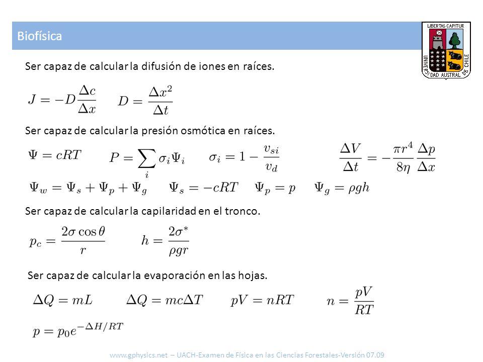 Biofísica Ser capaz de calcular la difusión de iones en raíces.