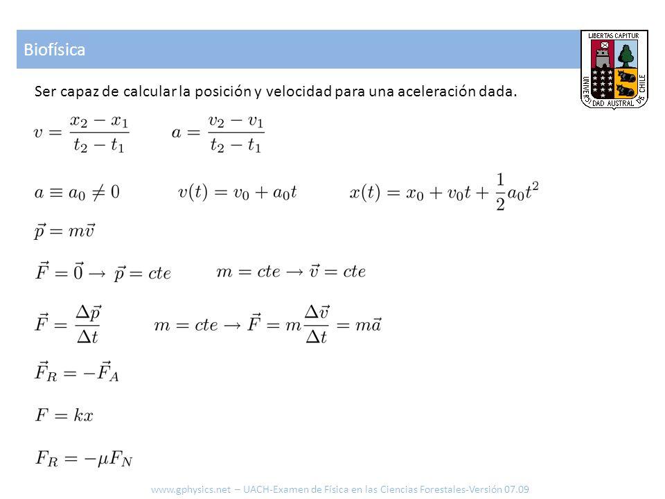 Biofísica Ser capaz de calcular la posición y velocidad para una aceleración dada.