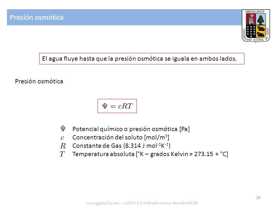 Presión osmótica El agua fluye hasta que la presión osmótica se iguala en ambos lados. Presión osmótica.