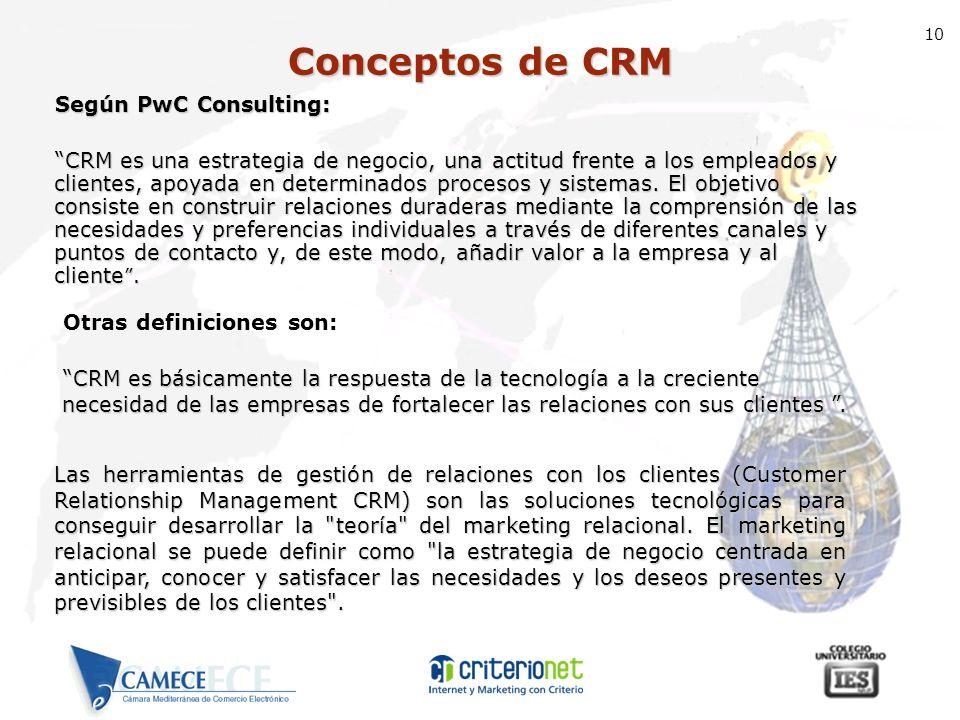 Conceptos de CRM Según PwC Consulting: