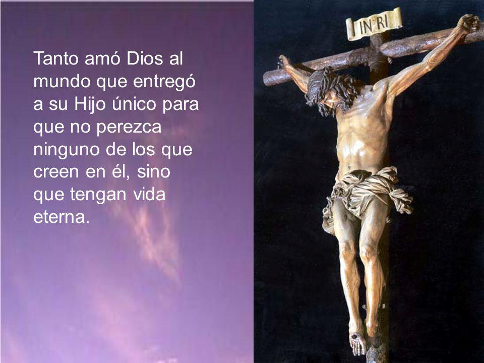 Tanto amó Dios al mundo que entregó a su Hijo único para que no perezca ninguno de los que creen en él, sino que tengan vida eterna.
