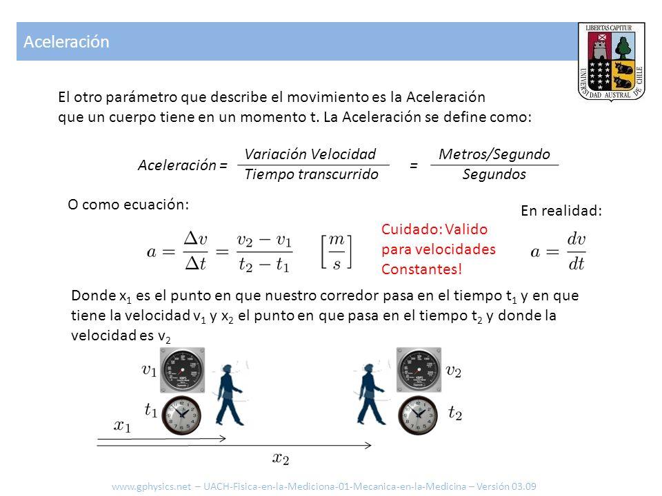 Aceleración El otro parámetro que describe el movimiento es la Aceleración. que un cuerpo tiene en un momento t. La Aceleración se define como: