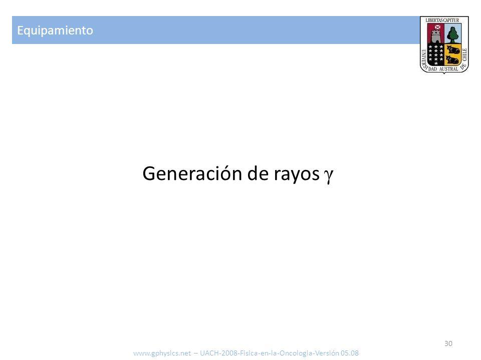 Generación de rayos γ Equipamiento