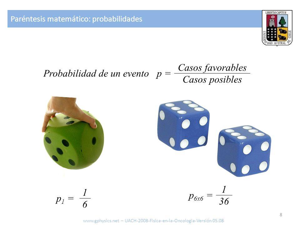 Probabilidad de un evento p =