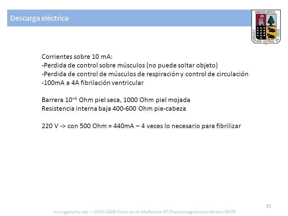 Descarga eléctrica Corrientes sobre 10 mA: