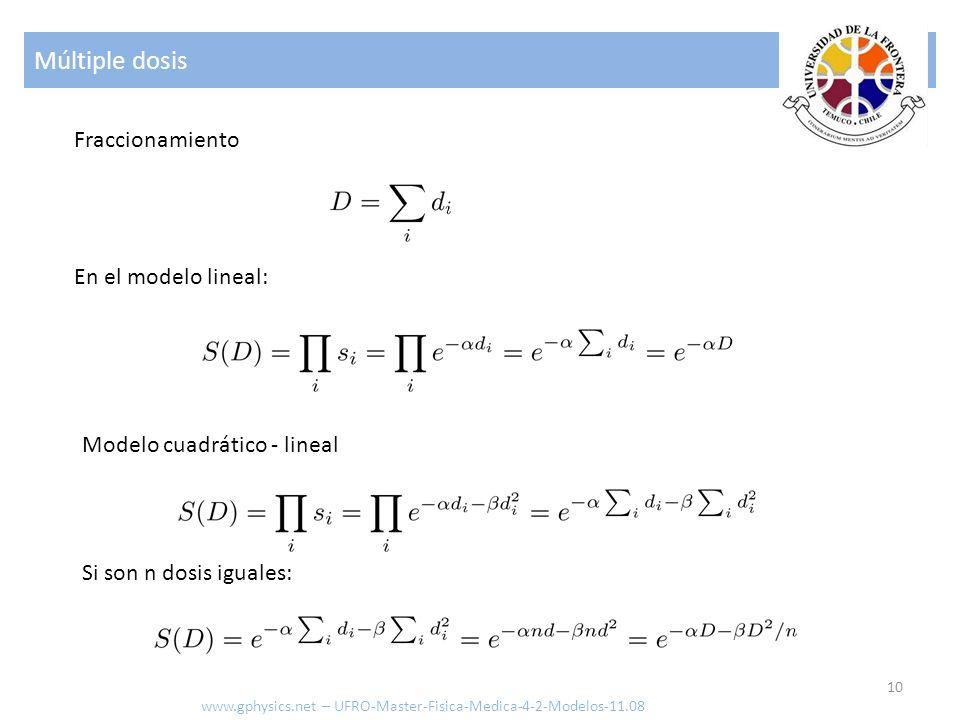 Múltiple dosis Fraccionamiento En el modelo lineal: