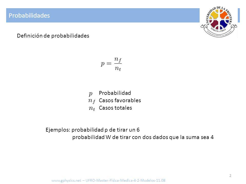 Probabilidades Definición de probabilidades Probabilidad