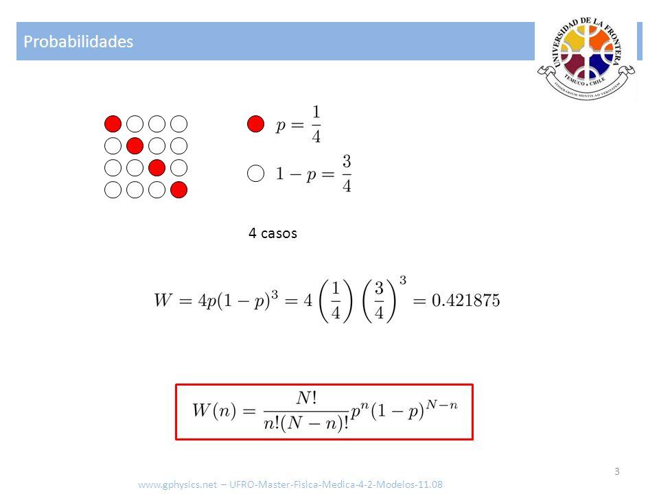 Probabilidades 4 casos www.gphysics.net – UFRO-Master-Fisica-Medica-4-2-Modelos-11.08