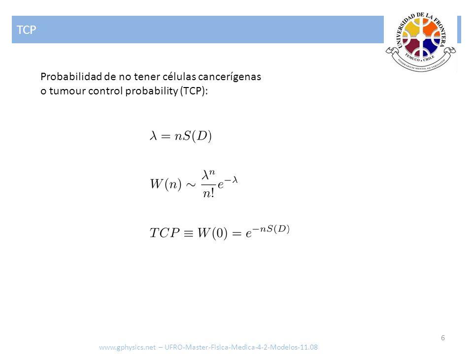 TCP Probabilidad de no tener células cancerígenas o tumour control probability (TCP): www.gphysics.net – UFRO-Master-Fisica-Medica-4-2-Modelos-11.08.