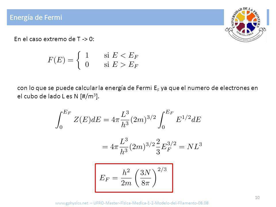 Energía de Fermi En el caso extremo de T -> 0: