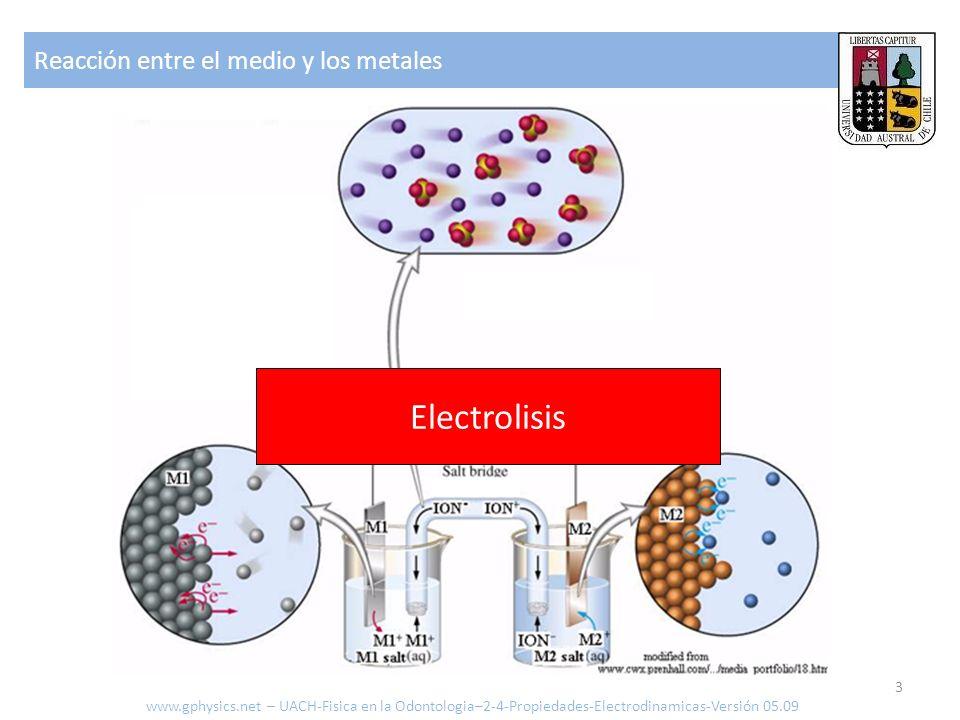 Electrolisis Reacción entre el medio y los metales